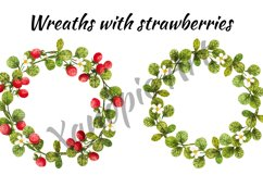Watercolor strawberry, watercolor clipart with berries and l Product Image 2