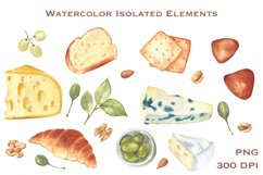 Cheese and Snacks. Watercolor clipart, patterns. JPG, PNG Product Image 6