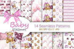 Baby Girl Paper Pack, New Baby Watercolor Seamless pattern Product Image 1
