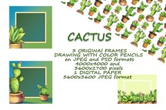 CACTI. ORIGINAl DRAWING WITH COLOR PENCILS ELEMENTS. Product Image 3
