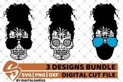 Messy Bun Designs Bundle svg, Curly Hair, Sugar Skull, Mask Product Image 1