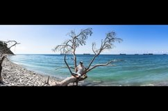 Picturesque summer panoramas on the stone beach. 2 pcs Product Image 1