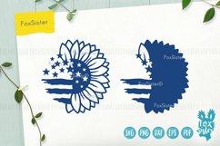Sunflower svg, Patriotic Sunflower Svg, USA Flag Svg Product Image 3