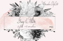 Watercolor Gray Floral Clipart Product Image 1