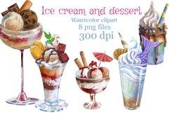Ice cream and dessert watercolor clipart,dessert menu Product Image 1