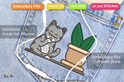 Cleaning Cat with Succulent - Embroidery File - 4x4 inch Product Image 3