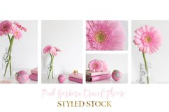 Pink Gerberas and globe travel styled stock destop photography Product Image 2