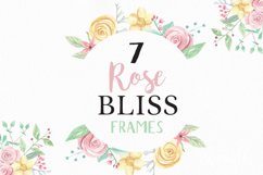 Rose Bliss 7 Frames Watercolor Floral Border Flowers Pink Product Image 1