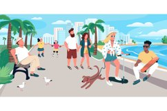People walking on resort town street vector illustration Product Image 1