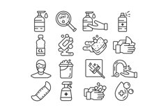16 Hygiene Icons, colored and outline style Product Image 3