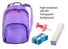 Watercolor School Clipart, Teacher Clipart, School Supplies Product Image 3