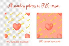 Hand drawn valentines seamless patterns png set Product Image 5