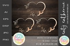 Wedding Love Heart Frame With Rings Bundle SVG Cut File Product Image 1