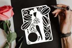Papercut Wedding Couple with Butterfly Wings, Invitation Art Product Image 3