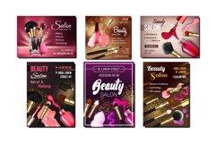 Beauty Salon Creative Advertise Banner Set Vector Product Image 1