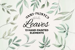 Watercolor Leaves 13 Elements Leaf Greenery Product Image 1