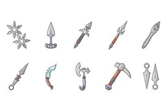 Steel arms icon set, cartoon style Product Image 1