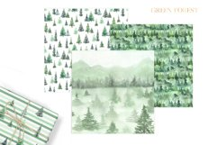 Watercolor Green Fores Digital Papers Product Image 6