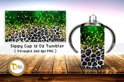 Sublimation Sippy Cup Tumbler leopard with green foil Product Image 1