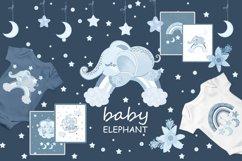 Sleeping blue elephant clipart, nursery print for boys Product Image 1