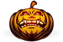 Vector Halloween Pumpkin Carved Eyes Mouth Icon Set Product Image 2