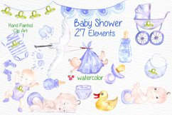 Watercolor boy baby shower clipart Product Image 1