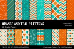 Orange And Teal Digital Papers Product Image 1