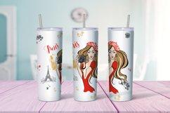 Travel girls in Paris tumbler sublimation design Png Product Image 6