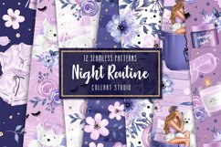 Bedtime digital paper, nightime routine, girly papers Product Image 1