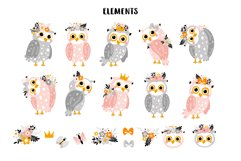 Cute owls with flowers. Product Image 2