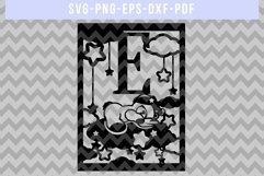 Nursery E SVG Cut File, Monogram Papercut, Paper Art DXF PDF Product Image 4