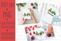 Watercolor Christmas PNG - Tractor, Farm Wagon, Tree Product Image 2