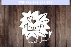 Cute Lion Papercut Template, Valentines Day SVG, Animal DXF Product Image 1