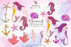 Pink Mermaid Clipart Glam Undet the Sea | Drawberry CP019 Product Image 3