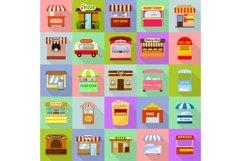 Street food kiosk icons set, flat style Product Image 1