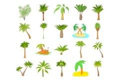 Palm tree icon set, cartoon style Product Image 1