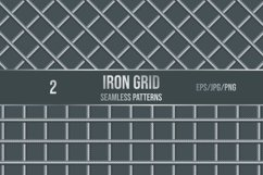 Set of 2 vector seamless pattern of iron grid. Product Image 1