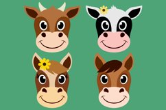 Barnyard Animal Clipart Bundle, Happy Faces, PNG, JPEG, EPS Product Image 3