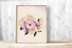 Dahlias clipart. Bouquets of white and purple flowers. Product Image 4
