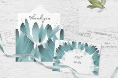 Blue foliage clipart Set Watercolor border Product Image 5
