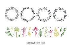 Floral botanical doodle illustrations set Product Image 4