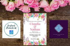 Pink Peony Watercolor Wedding Invitation Product Image 4