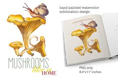 Forest mushroom chanterelle Snail Watercolor sublimation PNG Product Image 2