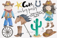 Cowboy Kids Watercolor Clipart Product Image 1