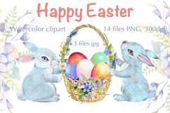 Easter watercolor clipart, easter cute bunny Product Image 1