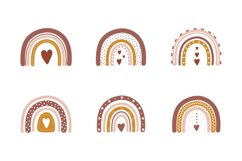 Boho rainbow clipart Product Image 1