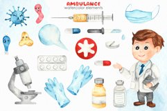Watercolor Ambulance. Clipart, cards, seamless patterns Product Image 8