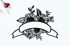 Sunflower Ribbon Banner SVG, Floral Wedding Banner SVG Product Image 2