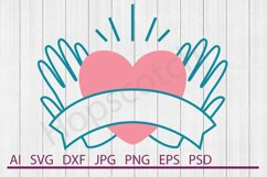 Heart SVG, Holding Heart SVG, DXF File, Cuttable File Product Image 1