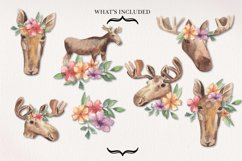 Moose Floral Animal Watercolors Flowers Arrangements Product Image 3